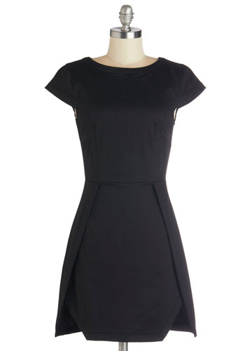 Midnight Pretty Dress - Black, Solid, Party, LBD, Shift, Cap Sleeves, Better, Short, Woven, Cocktail