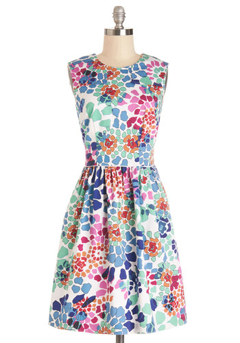 Watercolor Me Happy Dress - Multi, Floral, Daytime Party, A-line, Sleeveless, Summer, Woven, Better, Scoop, Exposed zipper, Pockets, Graduation, Sundress, Mid-length