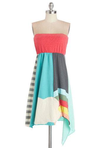 Come Rainbow or Shine Dress by Heel Athens Lab - Casual, Quirky, Colorblocking, Empire, Strapless, Better, International Designer, Multi, Knit, Mid-length