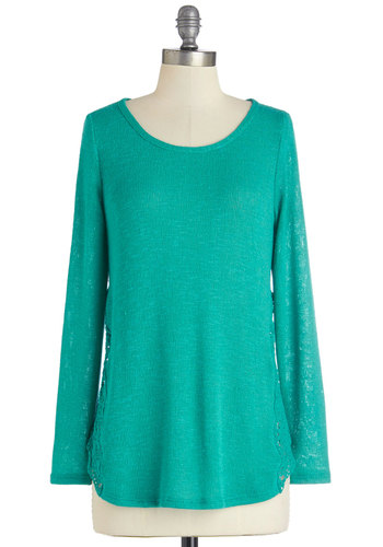 Guiding Bright Sweater - Mid-length, Green, Solid, Crochet, Casual, Long Sleeve, Spring, Green, Long Sleeve, Scoop