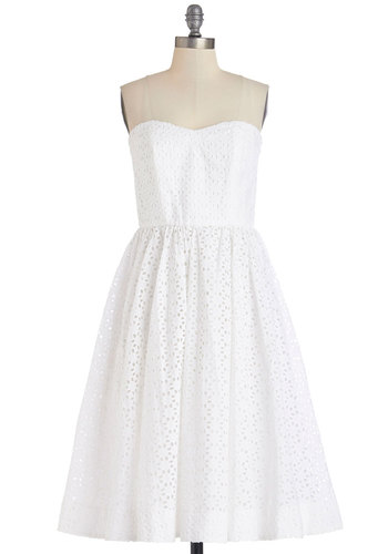 Eyelet You A Lot Dress - White, Daytime Party, Graduation, Solid, Exposed zipper, Eyelet, A-line, Strapless, Summer, Best, Long, Cotton, Woven, Sweetheart, Wedding, Bride, Americana, Show On Featured Sale