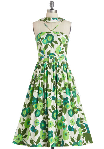 As Lush Would Have It Dress - Long, Woven, Green, White, Floral, Special Occasion, Daytime Party, A-line, Sleeveless, Better, Pockets, Belted, Vintage Inspired, 50s, Fit & Flare