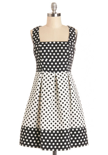 Doo-Wop Dots Dress - Black, White, Polka Dots, Cutout, Pleats, Daytime Party, A-line, Sleeveless, Better, Sweetheart, Mid-length, Woven, Sundress