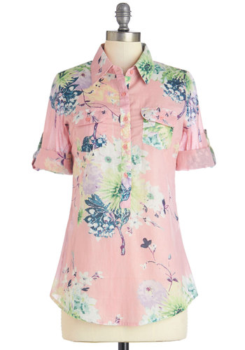 Garden Tea Top - Mid-length, Woven, Pink, Blue, Floral, Buttons, Pockets, Casual, 3/4 Sleeve, Spring, Pink, Tab Sleeve