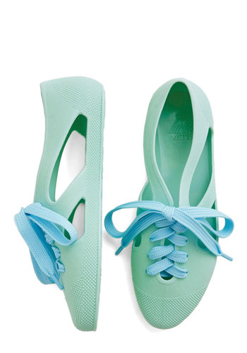 Merry-Go-Round Town Flat in Mint - Flat, Mint, Solid, Cutout, Casual, Better, Lace Up, Variation, Summer