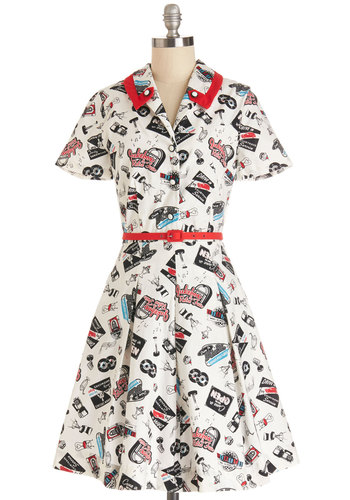Daily Special Dress by Bea & Dot - Cotton, Mid-length, Belted, Casual, Shirt Dress, Short Sleeves, Better, Collared, Novelty Print, Pleats, Pockets, Vintage Inspired, 50s, Exclusives, Private Label, Woven, Multi, Red, Blue, Black, White, Show On Featured Sale