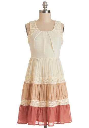 Shades of Grace Dress - Crochet, Pleats, Ruffles, Casual, Colorblocking, A-line, Sleeveless, Summer, Woven, Good, Scoop, Mid-length, Multi, Pink, Tan / Cream, Festival, Boho