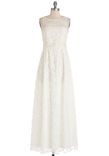 When the Big Day Comes Dress by BB Dakota - Maxi, Wedding, Bride, White, Solid, Lace, Special Occasion, Sleeveless, Better, Exclusives, Sheer, Woven, Lace, Long, Full-Size Run