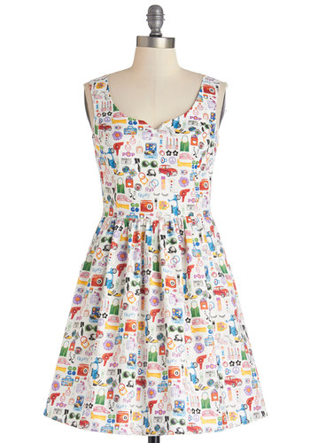 The Mod Life Dress - Multi, Novelty Print, Pockets, Casual, Fit & Flare, Tank top (2 thick straps), Better, Cotton, Woven, A-line, Exclusives, Variation, Sweetheart, Statement, Full-Size Run, Mid-length