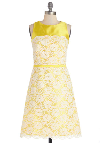 The Luminous Two Dress - Yellow, White, Lace, Scallops, Trim, Wedding, Bridesmaid, A-line, Sleeveless, Better, Scoop, Woven, Mid-length