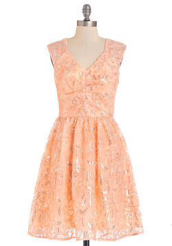 Twinkling at Twilight Dress in Peach