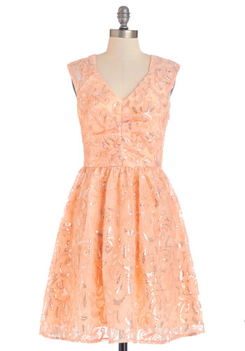 Twinkling at Twilight Dress in Peach - Prom, Variation, Woven, Mixed Media, Mid-length, Silver, Print, Cutout, Sequins, Special Occasion, Sleeveless, Better, V Neck, Orange, Pastel, Wedding, Bridesmaid, Homecoming, Coral, Fit & Flare