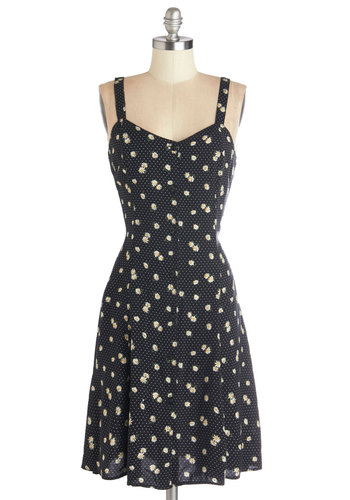 Nights and Daisies Dress in Dots - Woven, Mid-length, Black, White, Floral, Buttons, Casual, Sundress, A-line, Good, Sweetheart, Vintage Inspired, 90s, Sleeveless