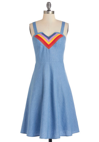 You've Got All Day Dress - Blue, Red, Yellow, Casual, Sundress, Vintage Inspired, 70s, A-line, Sleeveless, Summer, Woven, Good, Exclusives, V Neck, 80s, Festival, Boho, Long