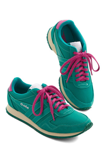 Teal Deal Sneaker by Gola - Green, Solid, Lace Up, Casual, Menswear Inspired, Better, Pink