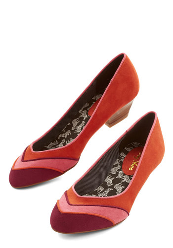 Welcome Back, Trotter Heel - Low, Faux Leather, Orange, Red, Pink, Solid, Stripes, Party, Vintage Inspired, 60s, 70s, Better, Chunky heel