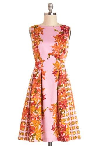 Belize the Day Dress - Floral, A-line, Better, V Neck, Summer, Woven, Daytime Party, Mid-length, Multi, Red, Pink, Exposed zipper, Pleats, Pockets, Sleeveless