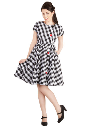 Library Assistant Dress by Bea & Dot - Cotton, Woven, Black, White, Checkered / Gingham, Buttons, Casual, A-line, Short Sleeves, Better, Pockets, Vintage Inspired, Exclusives, Private Label, Crew, Top Rated, Mid-length