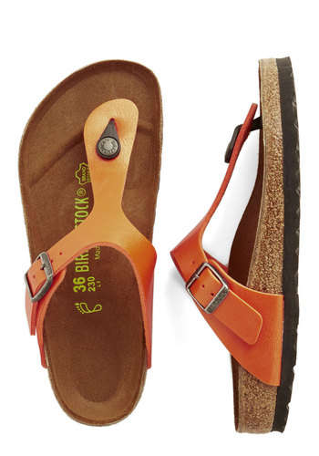 Trek a Break Sandal by Birkenstock - Flat, Faux Leather, Orange, Solid, Summer, Better, Variation, Boho, Festival, 90s