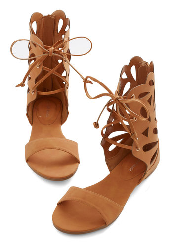 Winsome Wanderlust Sandal - Flat, Faux Leather, Tan, Solid, Cutout, Boho, Summer, Good, Lace Up