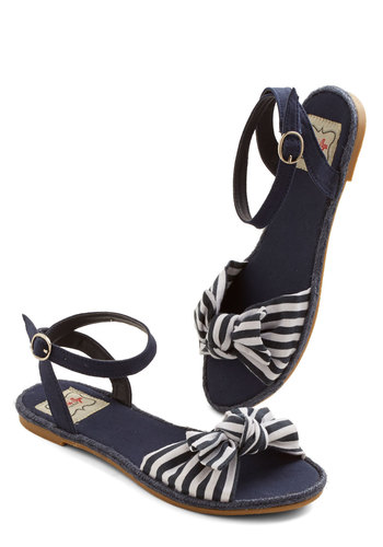 One Woman Cabana Sandal in Navy - Flat, Woven, Blue, White, Stripes, Bows, Beach/Resort, Nautical, Summer, Better, Variation, Americana
