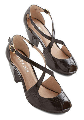 Traverse and Chorus Heel in Noir by Chelsea Crew - Mid, Faux Leather, Black, Solid, Special Occasion, Prom, Wedding, Party, Cocktail, Girls Night Out, Luxe, Better, Peep Toe, Strappy, Vintage Inspired, 20s, 30s, 40s, Variation