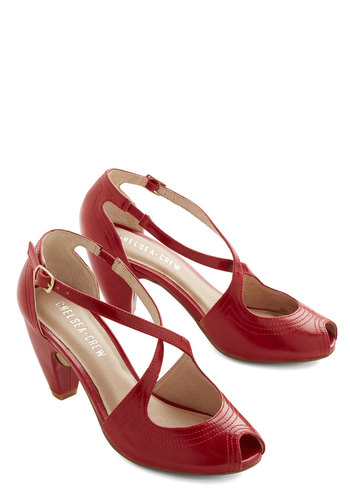 Traverse and Chorus Heel in Rouge by Chelsea Crew - Mid, Faux Leather, Red, Solid, Party, Cocktail, Vintage Inspired, 20s, 30s, 40s, Peep Toe, Variation