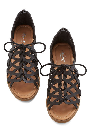 Spring into Active Sandal in Licorice - Low, Faux Leather, Black, Solid, Cutout, Summer, Good, Lace Up, Variation, Americana, Social Placements