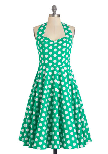 Like, Oh My Dot! Dress in Emerald - Green, White, Polka Dots, Casual, Rockabilly, Vintage Inspired, 50s, Fit & Flare, Summer, Woven, Better, International Designer, Sweetheart, Halter, Variation, Long