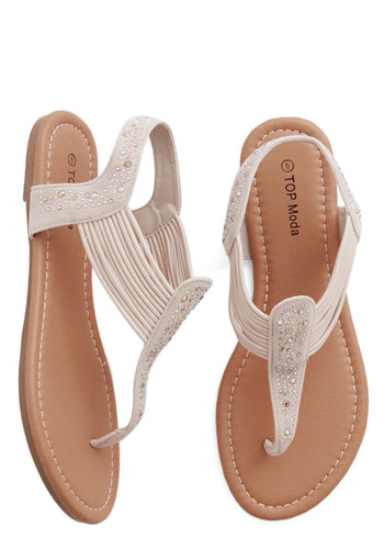 Banded Together Sandal - Flat, Faux Leather, Solid, Rhinestones, Beach/Resort, Summer, Good, T-Strap, Cream