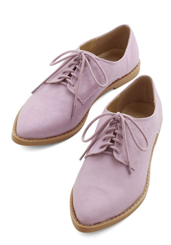Hops and Lollipops Flat - Flat, Faux Leather, Lavender, Solid, Menswear Inspired, Vintage Inspired, 20s, Pastel, Good, Lace Up