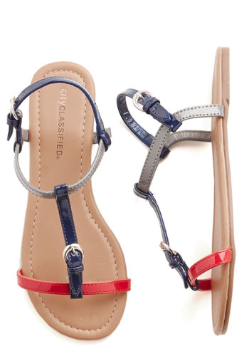 Set It Straightforward Sandal - Faux Leather, Red, Silver, Buckles, Nautical, Colorblocking, Summer, Flat, Good, Multi, Blue