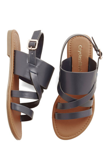 One-Gal Band Sandal in Navy - Flat, Faux Leather, Blue, Solid, Beach/Resort, Summer, Good, Variation, Social Placements