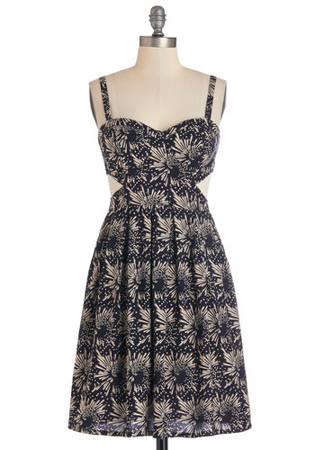 Light Up the Night Dress - Festival, Black, Tan / Cream, Print, Cutout, Casual, A-line, Tank top (2 thick straps), Good, Exclusives, Sweetheart, Mid-length, Sundress, Cosmic, Top Rated, Boho
