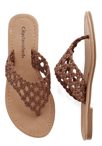 Gathered in the Grass Sandal - Flat, Faux Leather, Solid, Braided, Beach/Resort, Boho, Summer, Good, Brown