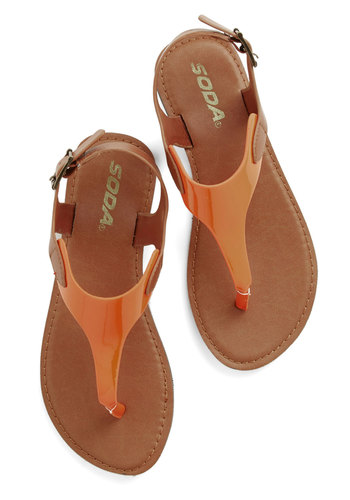 Awake with the Sunrise Sandal - Flat, Faux Leather, Orange, Tan / Cream, Beach/Resort, Colorblocking, Summer, Good, T-Strap