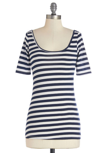Spare Time After Time Top - Short Sleeve, Knit, Mid-length, White, Stripes, Casual, Nautical, Short Sleeves, Spring, Blue, Blue, Basic, Scoop