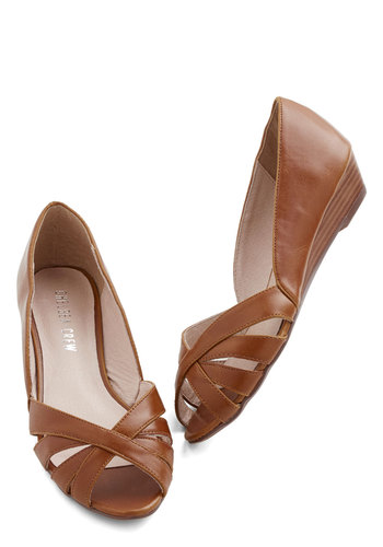 Weekly Commute Wedge by Chelsea Crew - Low, Faux Leather, Brown, Solid, Work, Daytime Party, Vintage Inspired, 40s, Wedge, Peep Toe