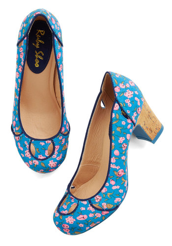 Record Request Heel - Mid, Woven, Blue, Multi, Floral, Wedding, Party, Daytime Party, Better, Chunky heel, Darling, Pink, Cutout