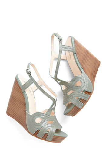 Worth It Wedge by Seychelles - High, Leather, Green, Solid, Cutout, Daytime Party, Spring, Best, Platform, Wedge