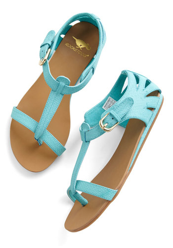 Walk on Sunshine Sandal in Turquoise - Flat, Faux Leather, Blue, Solid, Cutout, Beach/Resort, Summer, Good, Variation, T-Strap