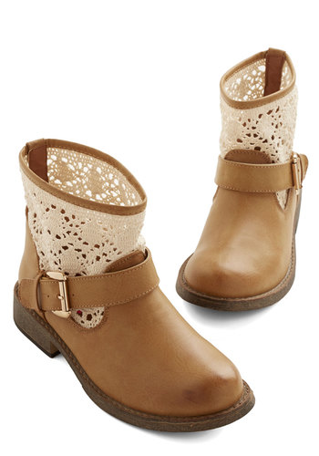 The Vast and the Curious Boot - Faux Leather, Tan, Tan / Cream, Crochet, Boho, Good, Casual, Festival