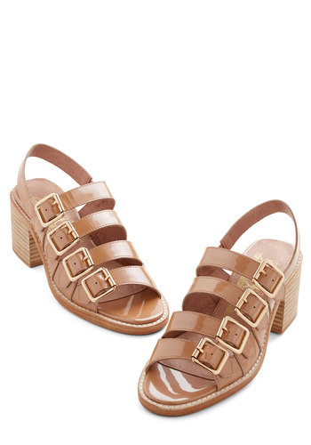 Shimmer of Love Heel - Mid, Leather, Tan, Solid, Buckles, Casual, Daytime Party, Beach/Resort, Best, Chunky heel, Slingback, Strappy