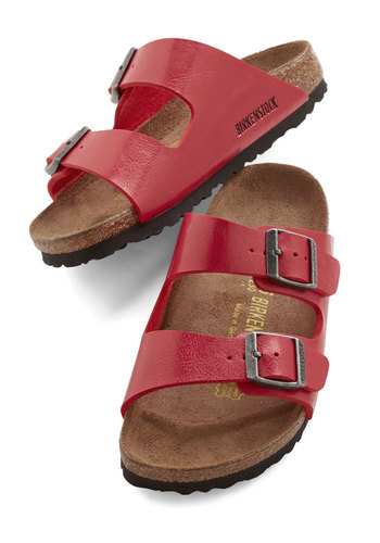 Strappy Camper Sandal in Strawberry - Narrow by Birkenstock - Flat, Faux Leather, Red, Solid, Buckles, Casual, Beach/Resort, Best, Strappy, Boho, Festival, Variation, Summer, 90s