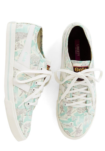 Skipping Through the Country Sneaker by Gola - Woven, Mint, White, Novelty Print, Casual, Americana, Better, Lace Up, Pastel