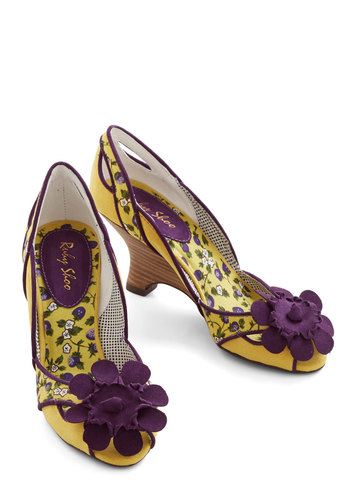 Complementary Blooms Heel - Mid, Woven, Yellow, Purple, Flower, Special Occasion, Floral, Trim, Daytime Party