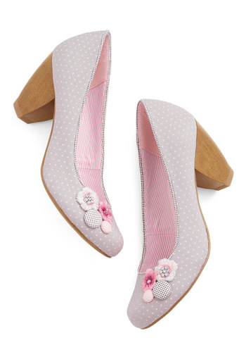 Prettiest Promenade Heel - Mid, Woven, Flower, Work, Spring, Summer, Best, Grey, Pink, Polka Dots, Rhinestones, Daytime Party, Pastel, Top Rated