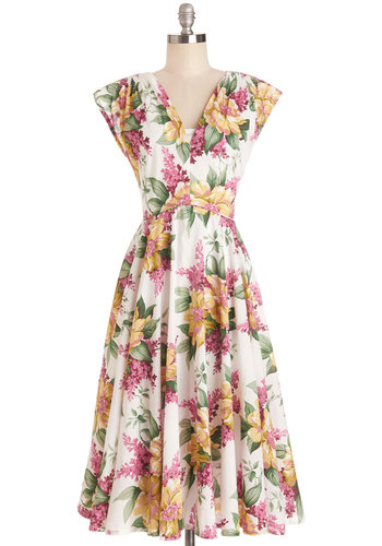 Spring in Full Swing Dress - Cotton, Multi, Floral, Daytime Party, A-line, Cap Sleeves, Spring, V Neck, Beach/Resort, Graduation, Long