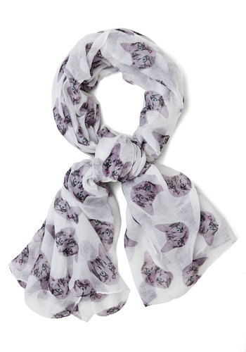 Tabby-Go-Lucky Scarf - White, Black, Print with Animals, Casual, Cats, Good, White, Woven, Critters, Top Rated