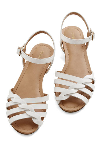 Come Out and Plait Sandal in White by Bass - White, Solid, Braided, Casual, Daytime Party, Beach/Resort, Americana, Spring, Summer, Good, Strappy, Flat, Leather, Social Placements